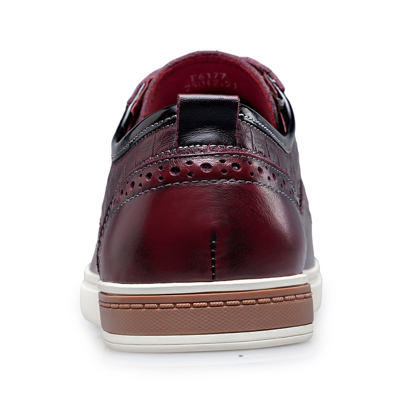 ZRO Men's Wingtip Casual Leather Oxford Sneaker Shoes Wine US 11 by ZRO (Image #4)
