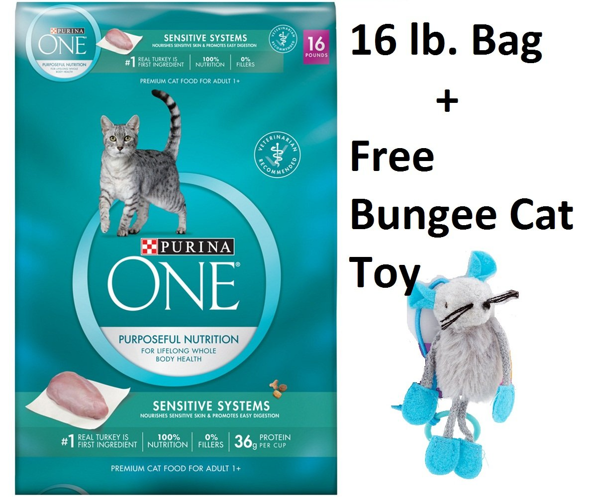 Purina ONE Sensitive Systems Adult Premium Cat Food (2 Bag - 16 lb + Free Toy)