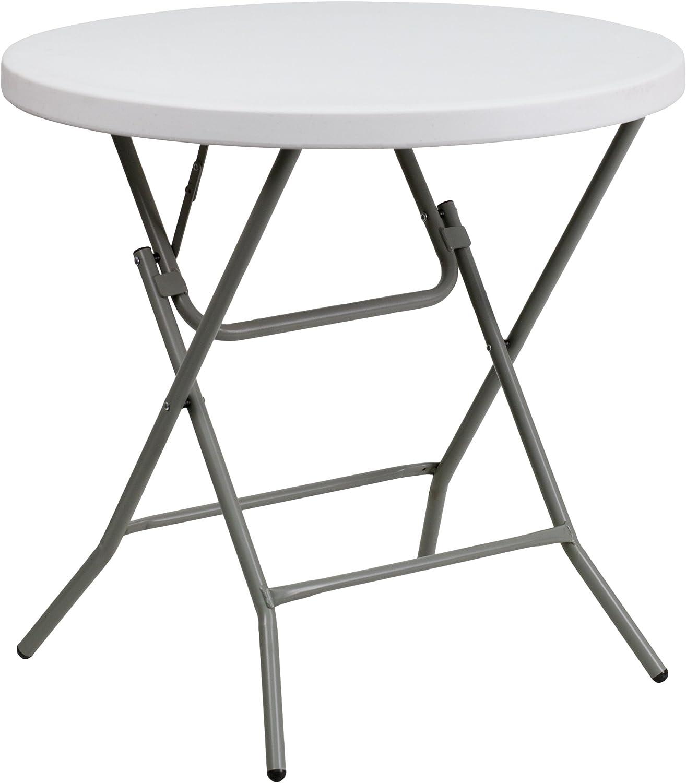 Flash Furniture 2 63 Foot Round Granite White Plastic Folding Table Furniture Decor Amazon Com