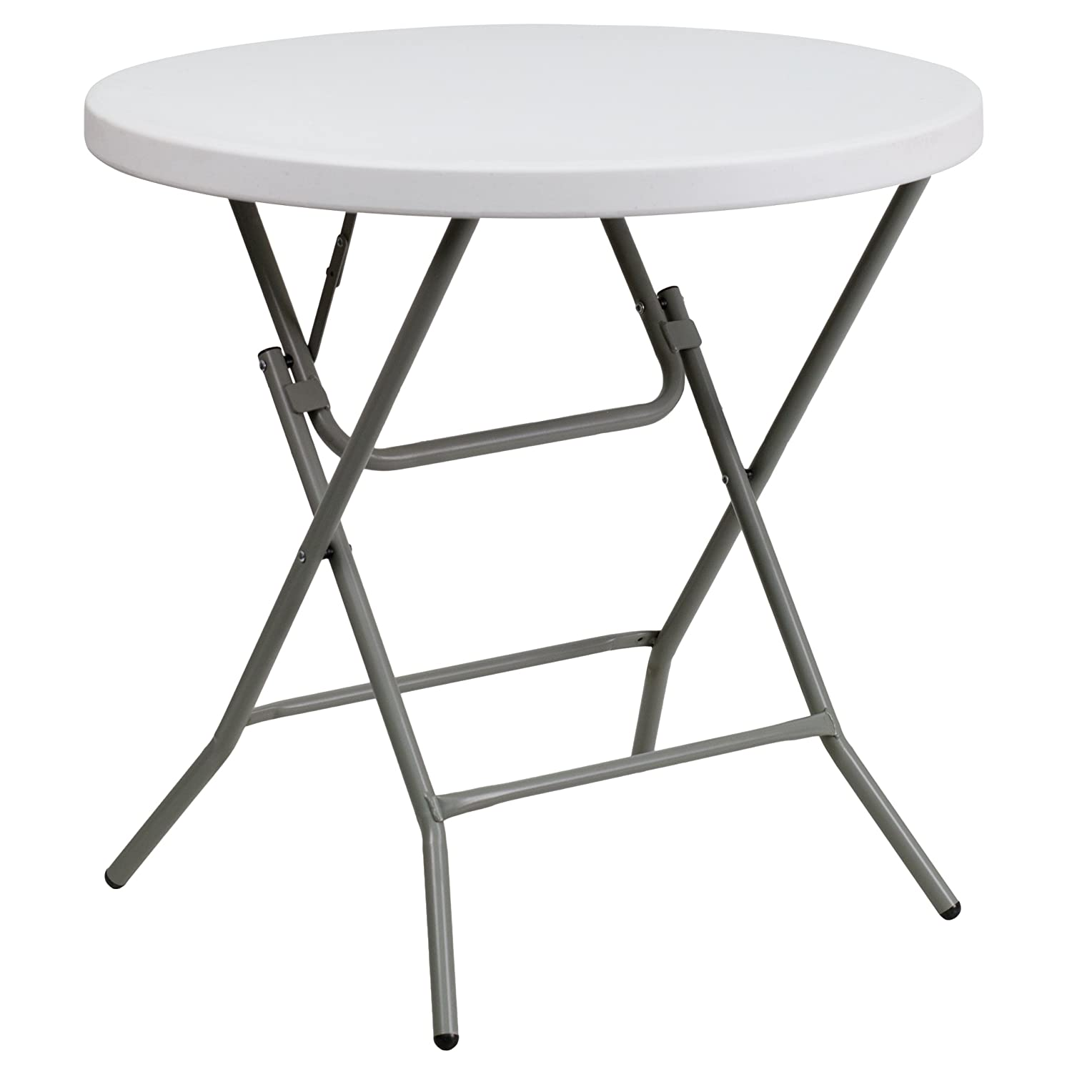 Flash Furniture Granite 32-Inch Round Folding Table, White