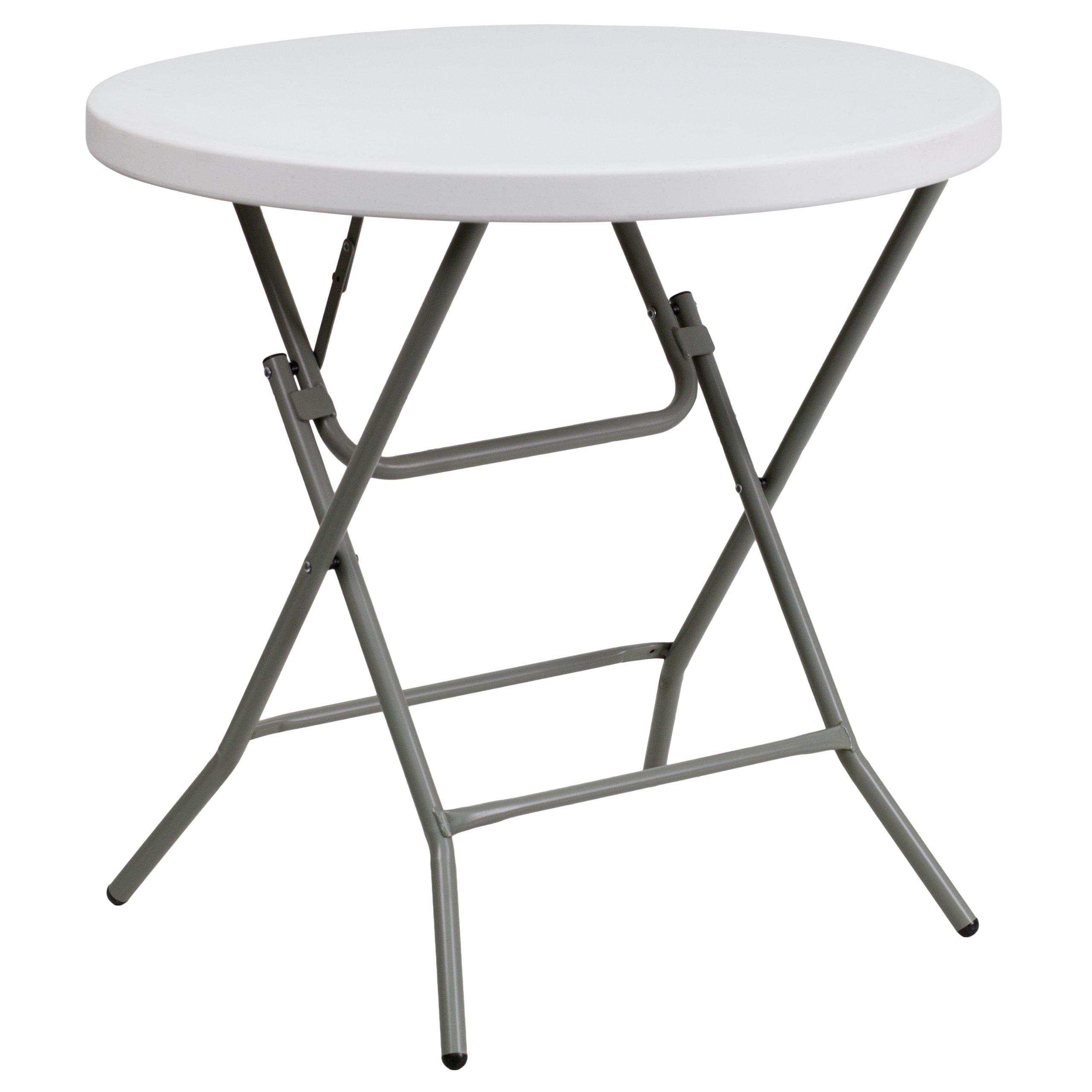 Flash Furniture Granite 32-Inch Round Folding Table, White by Flash Furniture