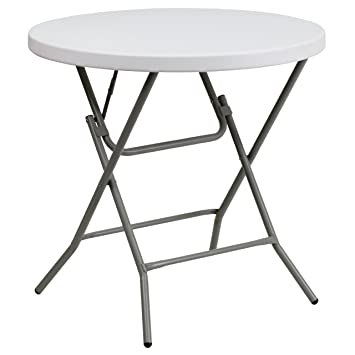 Flash Furniture Granite 32 Inch Round Folding Table White