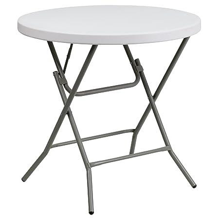 Flash Furniture Granite 32-Inch Round Folding Table, White