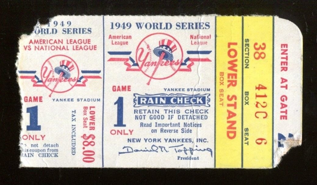 1949 World Series Game 1 Ticket Brooklyn Dodgers v New York Yankees Stadium 1283