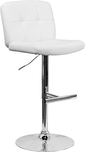 Flash Furniture Contemporary White Vinyl Adjustable Height Barstool