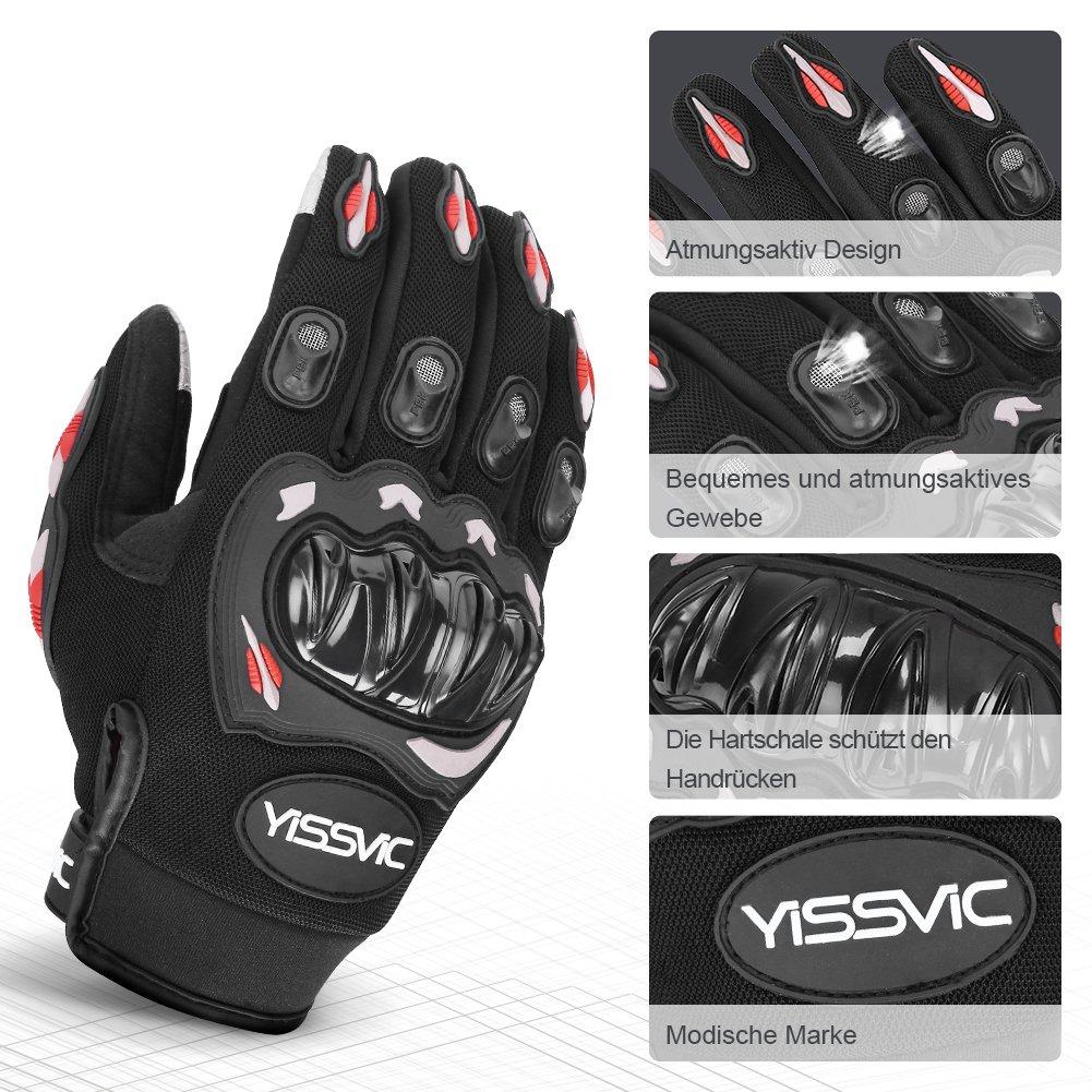 Verpackung MEHRWEG Yissvic Motorrad Handschuhe Motorradhandschuhe Touchscreen Sport Handschuhe f/ür Motorrad Radfahren Camping Outdoor L