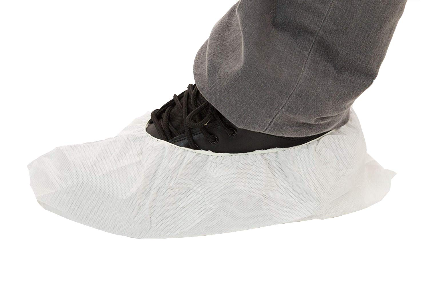 Body Filter 95+ Disposable Skid Resistant Shoe Covers (White) | Breathable Cool Material - Protective Body Suit for Dust, Spray Paint, Insulation, and More (Black Soles, Case of 200)