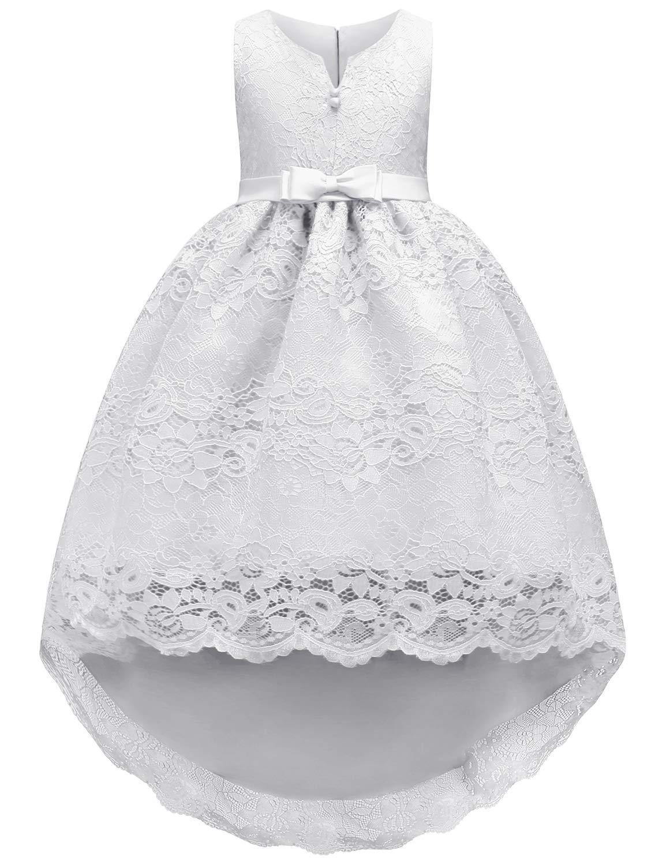 bba4aaa2a JOYMOM Princess Dresses for Girls, Kids Satin Bowknot Waistband Folding Lace  Hemline Regular Flower Embroidery Pattern Cute Gorgous Long Train Pageant  Ball ...