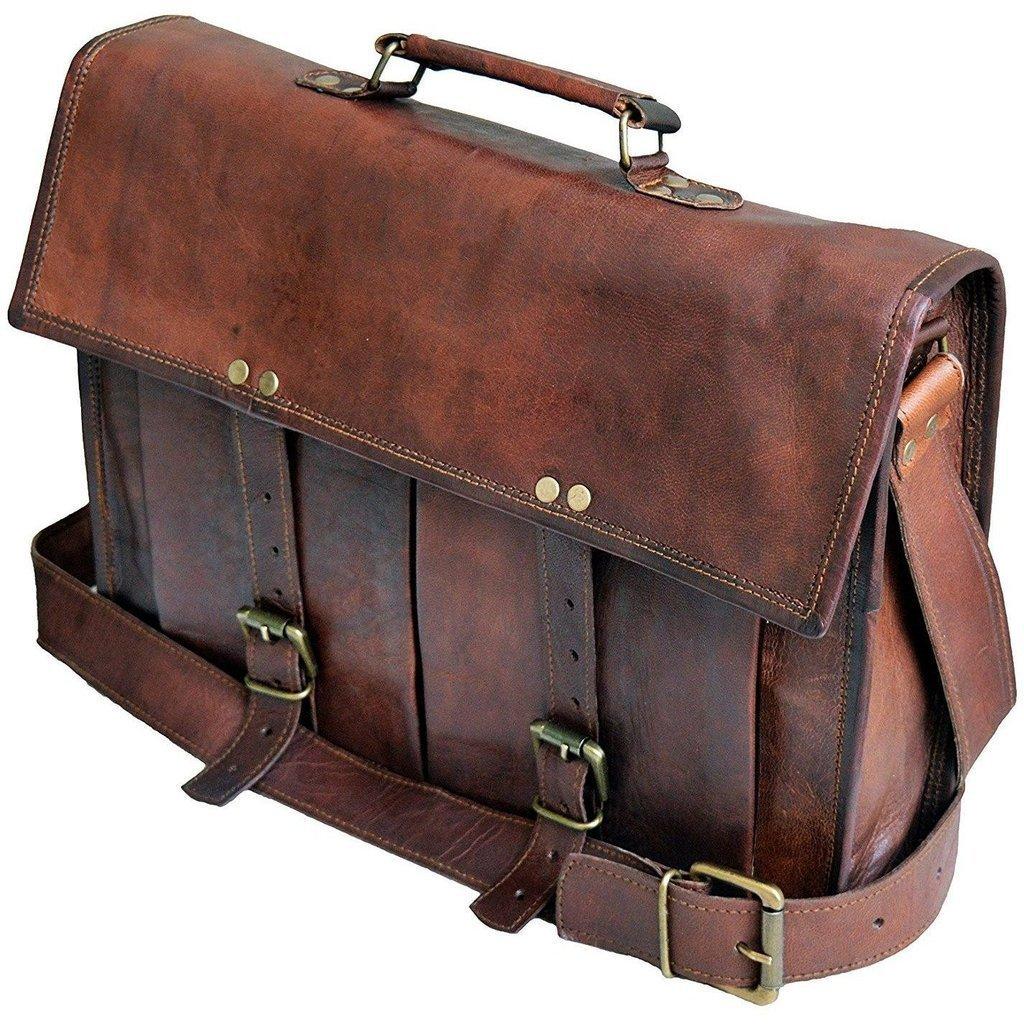 Vintage Handmade Leather Messenger Bag for Laptop Briefcase Best Computer Satchel School distressed Bag (18 INCH)