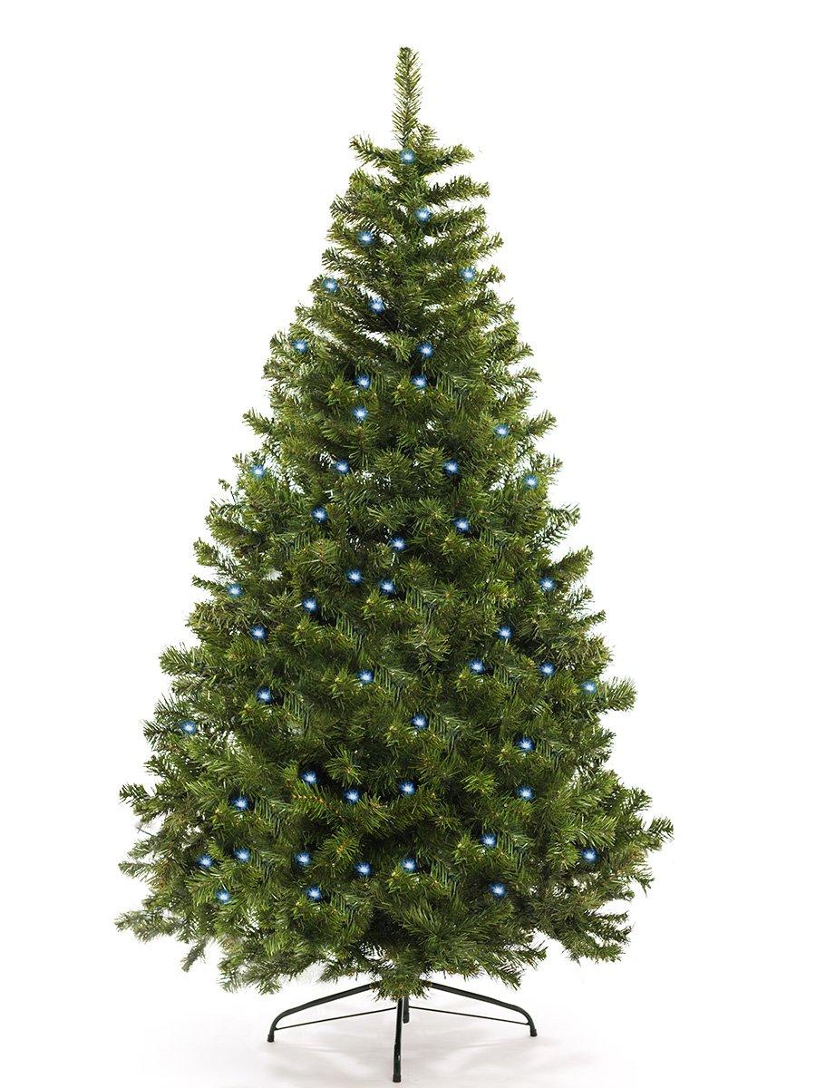 Künstlicher Weihnachtsbaum mit LED Christbaum Tannenbaum künstlich Kunstbaum Lichterbaum Tanne ( NATUR GRÜN + LED 150 cm)