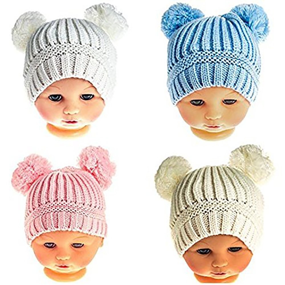 Baby Double Pom Pom Ears Winter Knitted Hat 6-12 Months