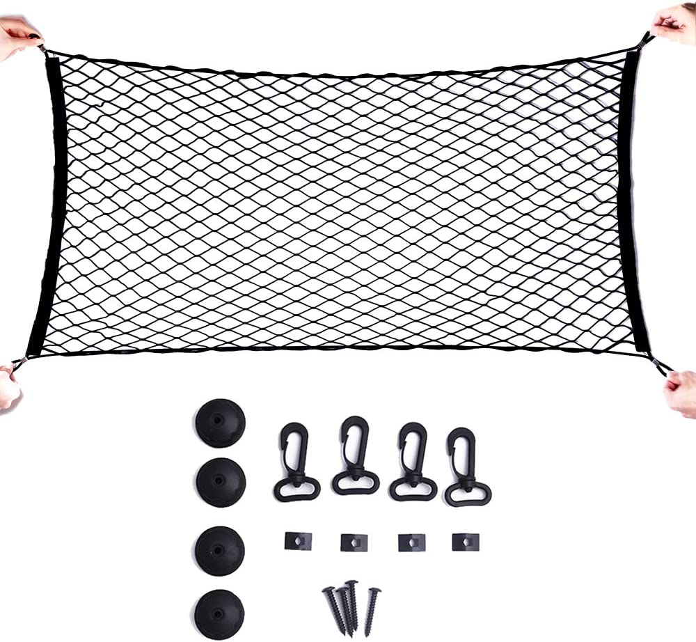 Black Elastic Car Cargo Tidy Net Storage Boot Net Fixing Points Saftey NEW FI