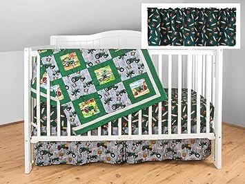 Amazon Com Oliver Tractor Crib Bedding Nursery Set Gray And Green Baby