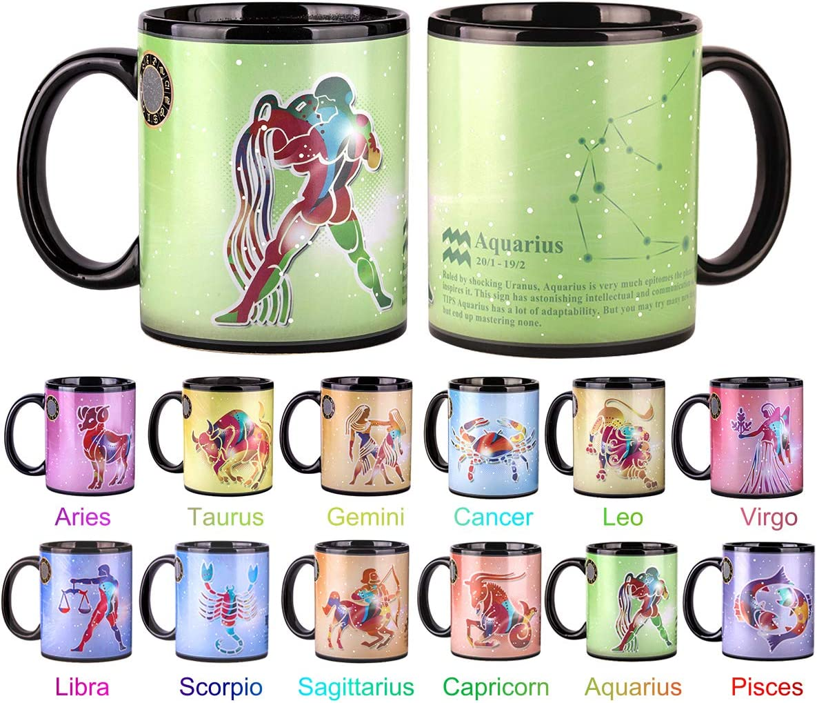 Amazon Com Heat Changing Constellation Mug 12 Oz Color Changing Mug With Gift Box For Women Men Aquarius Kitchen Dining