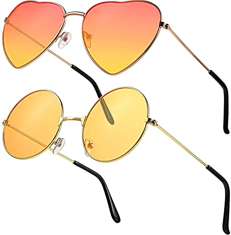 2 Paar Hippy Brille Sonnenbrillen Retro Hippy Stil