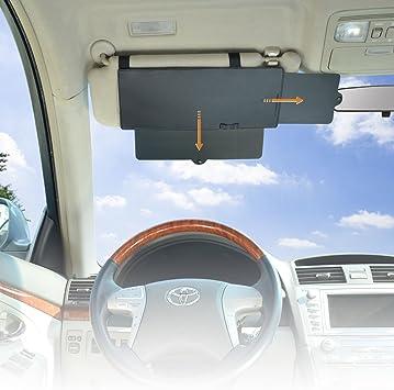 WANPOOL Car Visor Anti-Glare Sunshade Extender Front Seat Driver Passenger Black 2 Pieces Car Visor Sunshade