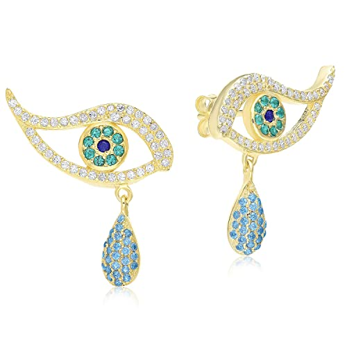 Sterling Silver Evil Eye Jewelry Multicolor Cubic Zirconia Climbing and Drop Earrings