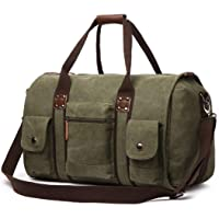Fidaroomy Travel Canvas Weekend Duffel Bags (Army Green)
