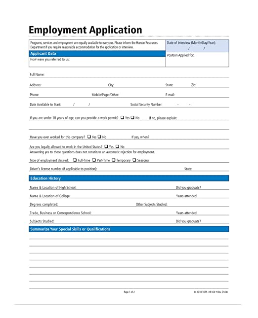 Amazon.com : Adams Application for Employment, Forms and ...