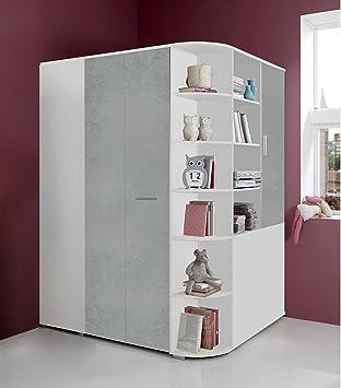 Eckkleiderschrank weiß  lifestyle4living Begehbarer Eckkleiderschrank Weiß, betonfarbige ...