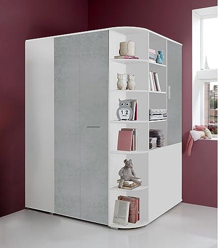 Begehbarer eckkleiderschrank weiß  Begehbarer Eckkleiderschrank weiß, betonfarbige lichtgraue Falttür ...
