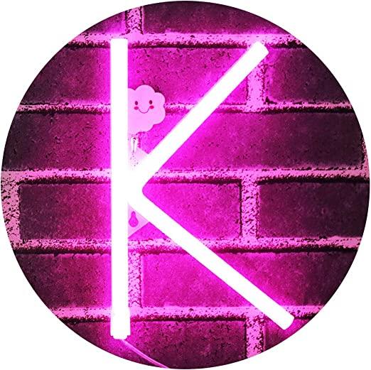 LED Neon Letters Light, Marquee Signs Light Up Letters USB Plug in Batteries Operated Night Light Pink Lamp Words Signs for Kids Teen Girls Bedroom Decor-Pink Letter K