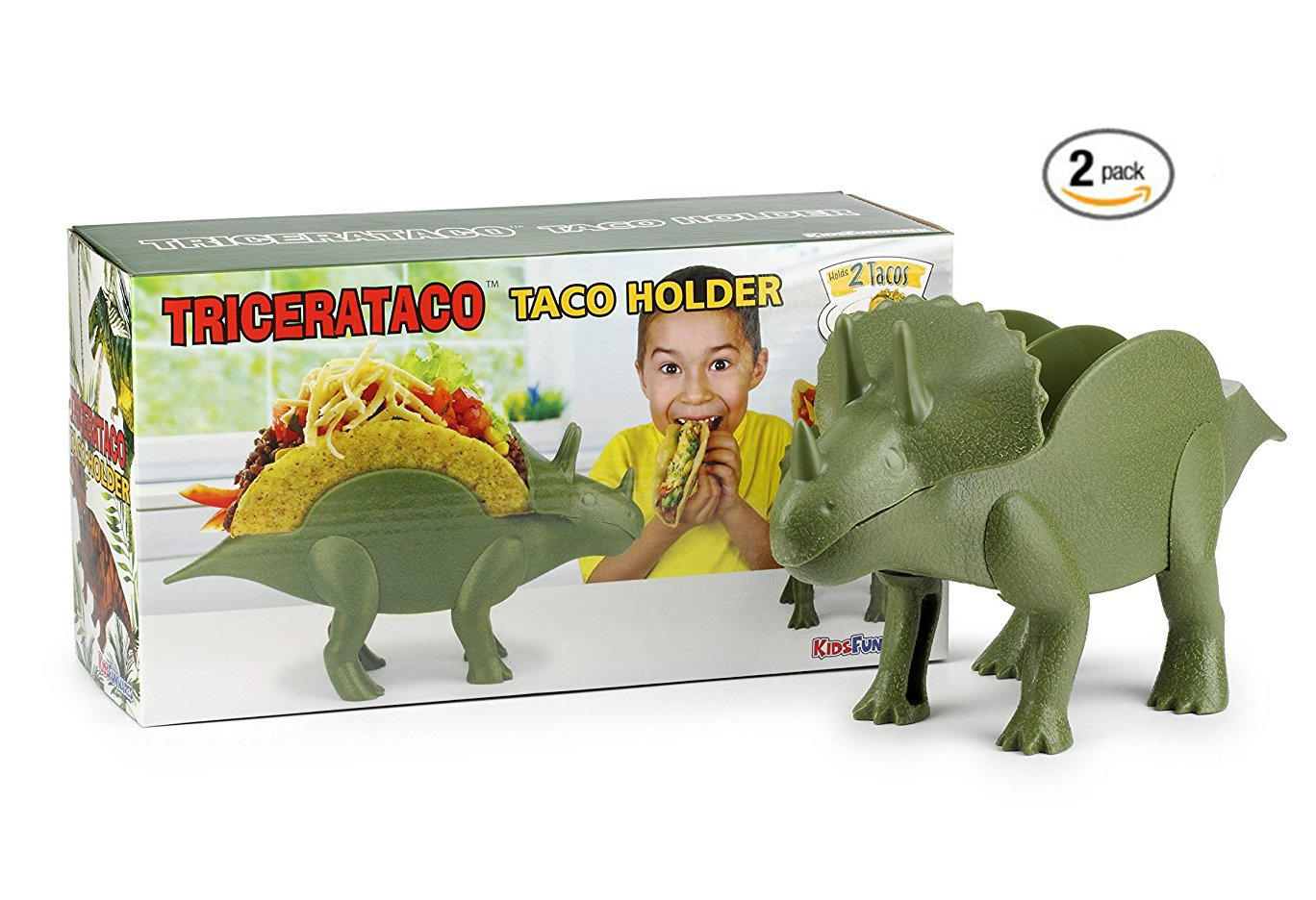 Kidsfunwares Tricerataco Taco Holder - Set of 2 - Prehistoric Taco Stand for Jurassic Taco Tuesdays and Dinosaur Parties - Holds 2 Tacos Each - The Perfect Gift for Kids