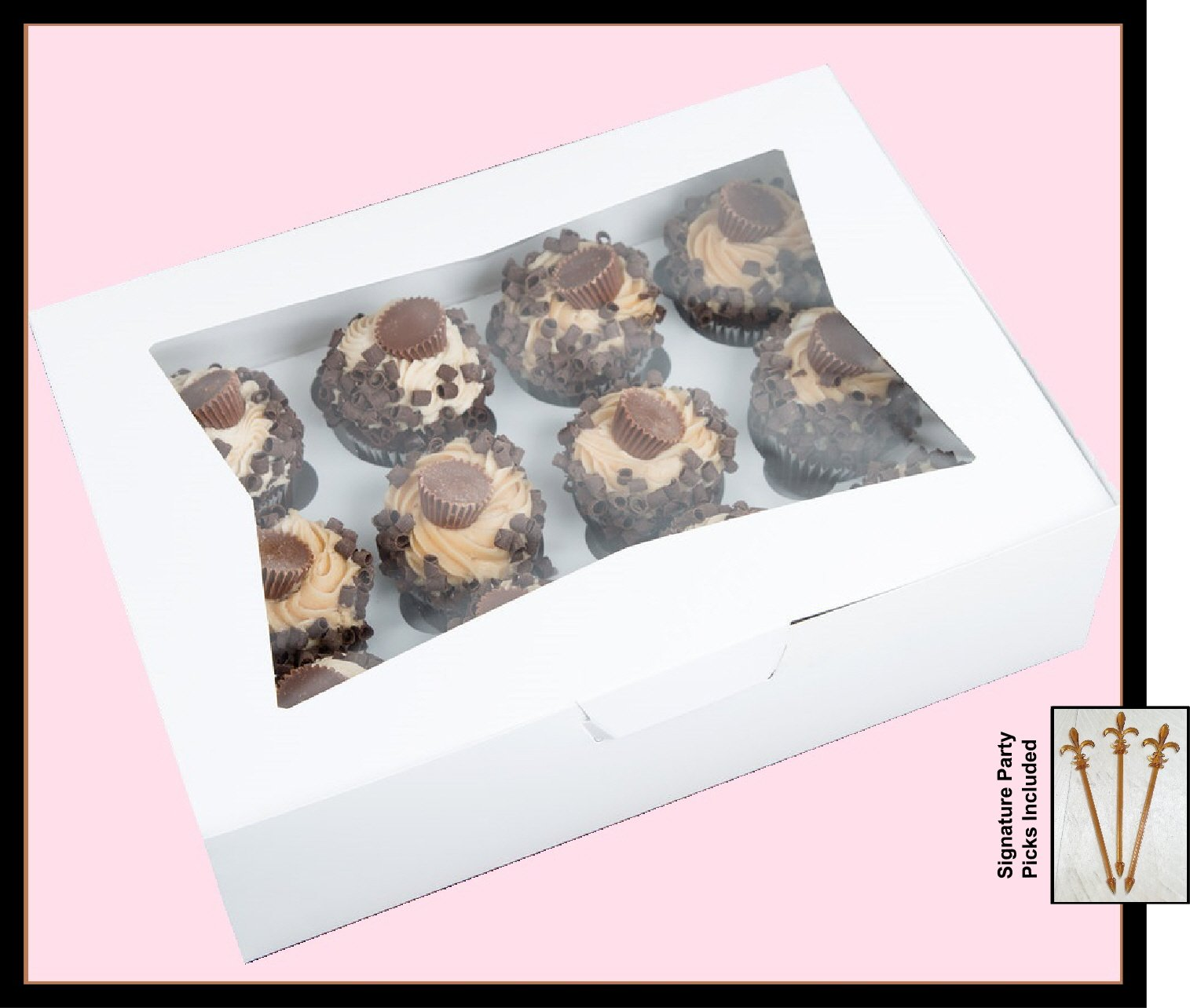 Cupcake Box holds 12, PACK of 10, 14x10x4 White Window Bakery/Cake Box and Inserts w/ Signature Picks by Happy Hour Supplies (Image #1)