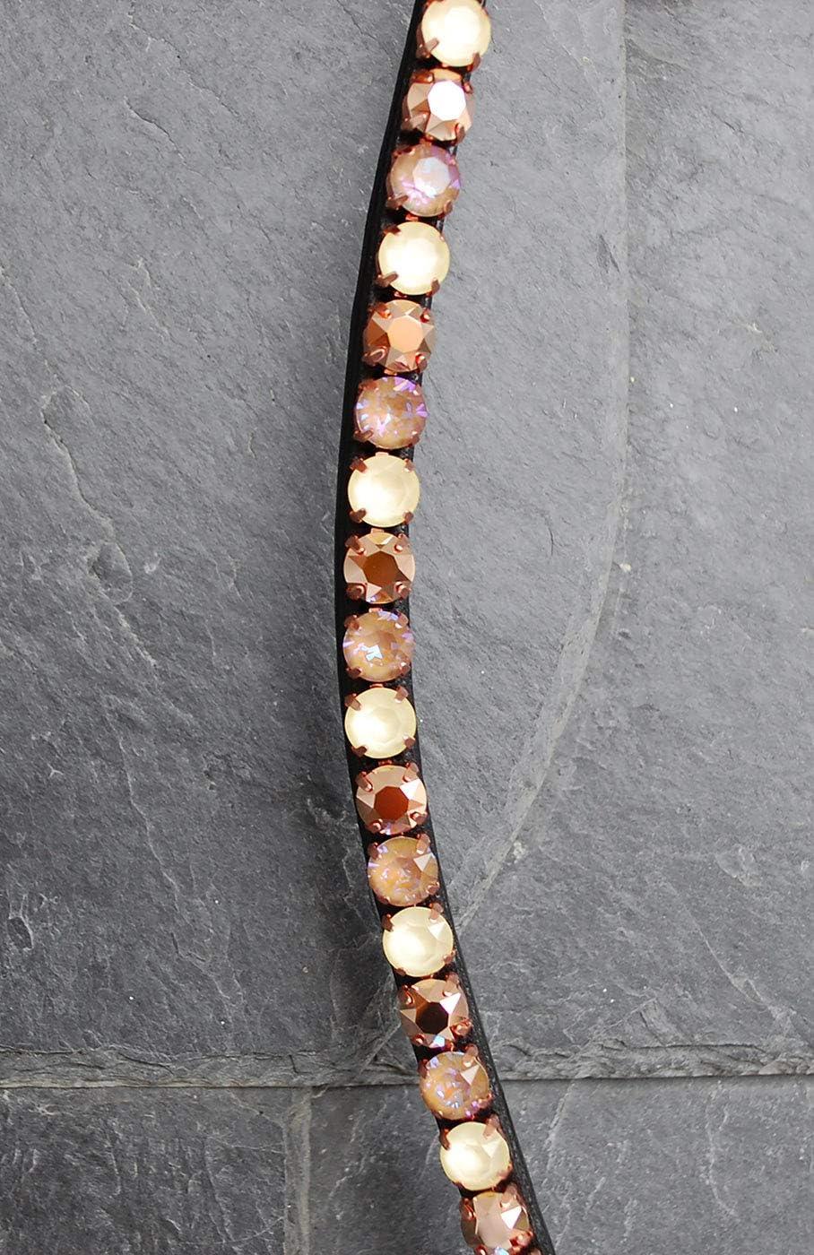 Braun /& Gelb Gl/ücksHucke Stirnriemen Pferd Buttercup mit gro/ßen Glitzer Chatons in Gold geschwungen handgen/äht
