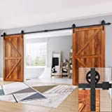 "EaseLife 16 FT Double Door Sliding Barn Door Hardware Kit,Big Spoke Wheel,Fit Double 48"" Wide Door"