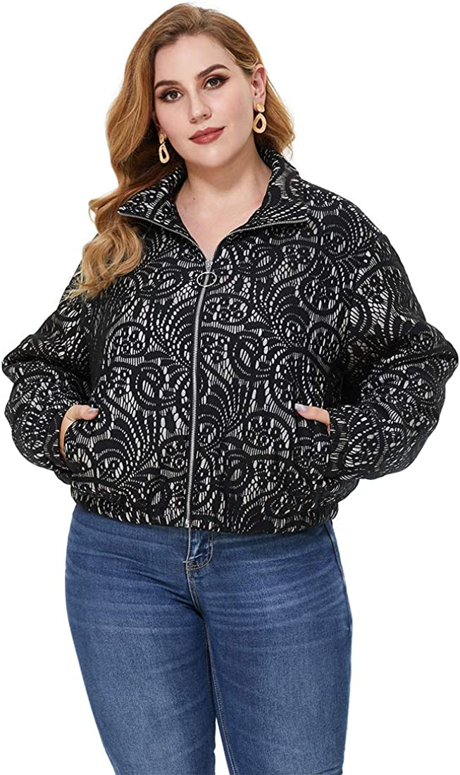 URBAN AFFAIR Womens Plus Size Cropped Short Puffer Jacket Packable Warm Winter Snow Coat