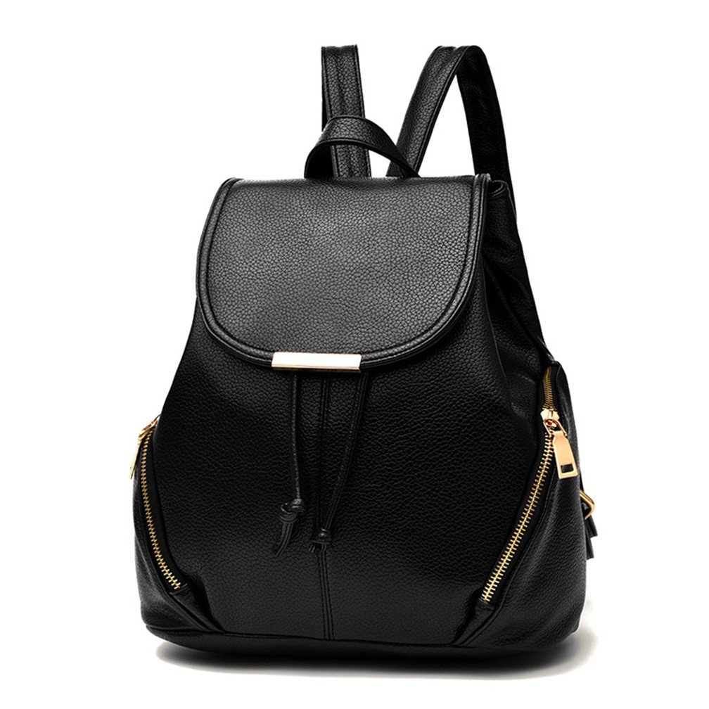Amazon.com  Hellofuture PU Leather Backpack Casual Fashion Trendy Outdoor  Daypack Stylish School Bag Solid Travel Backpack for girls and womens  (Black)  ... 4b1aebf602