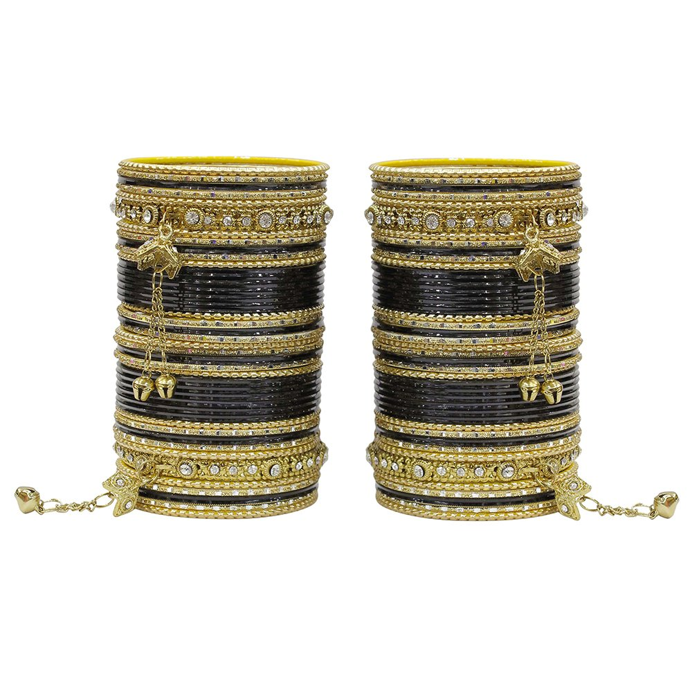 MUCH-MORE 86 Bangles Set Of Multi Colour Amazing collection Of Latkhan Bangles Set (Black, 2.6)