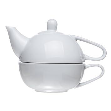2 piezas apilados de la tetera y taza para una (13,5 Oz), porcelana), color blanco: Amazon.es: Hogar