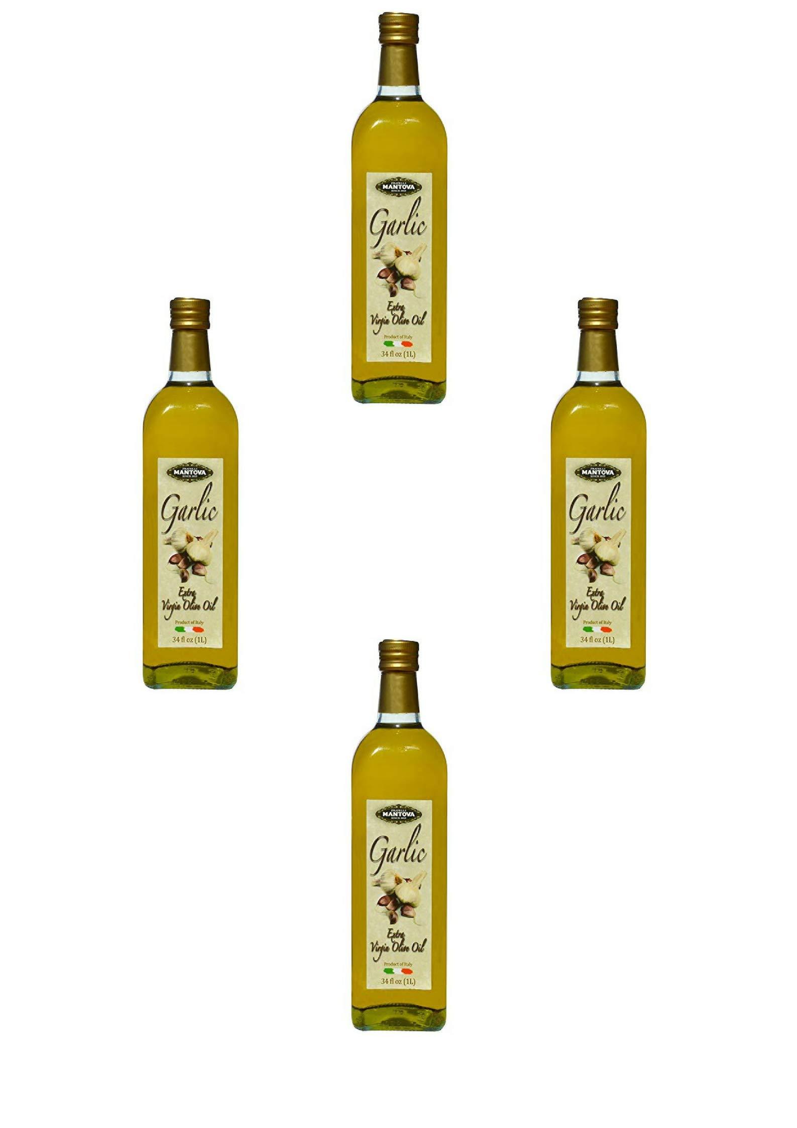 Mantova Garlic Italian Extra Virgin Olive Oil Bottles, 34 oz, 2 Pack (4 Pack) by Mantova