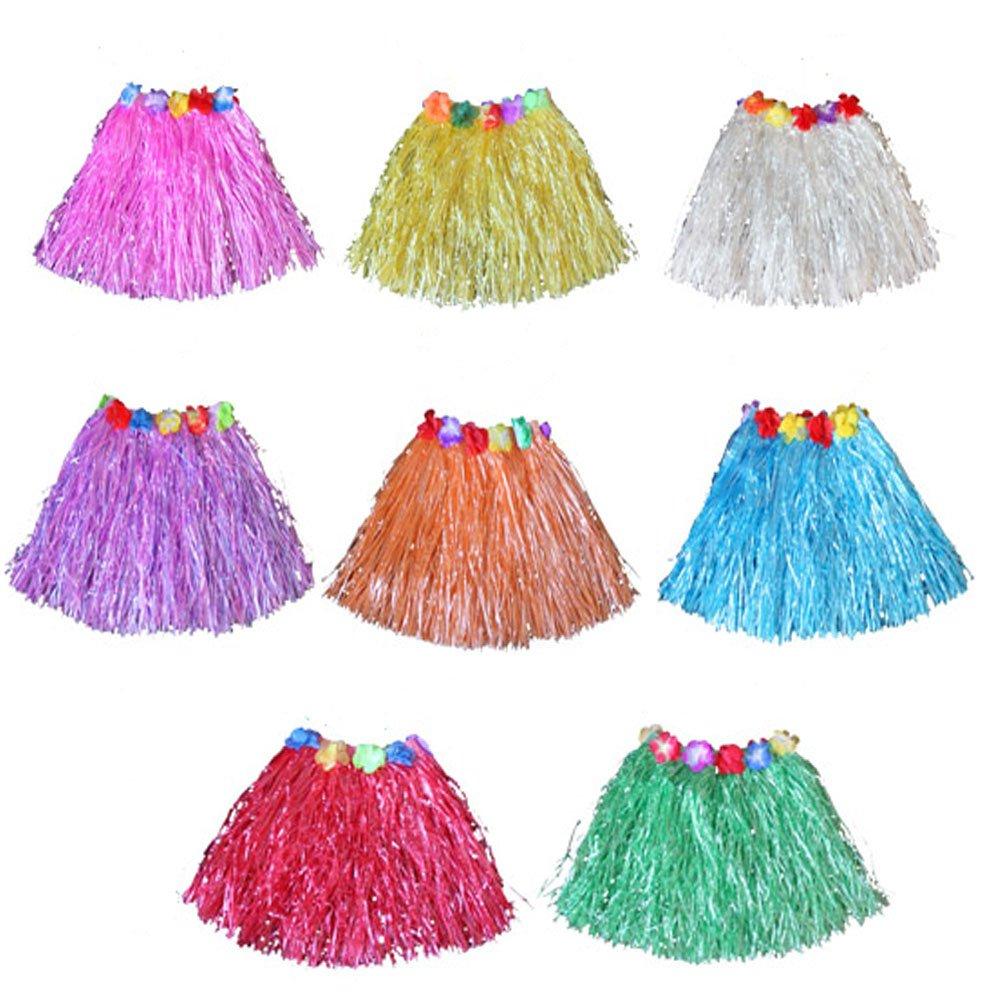Newcreativetop 7pcs Kid's Flowered Green Luau Hula Skirts
