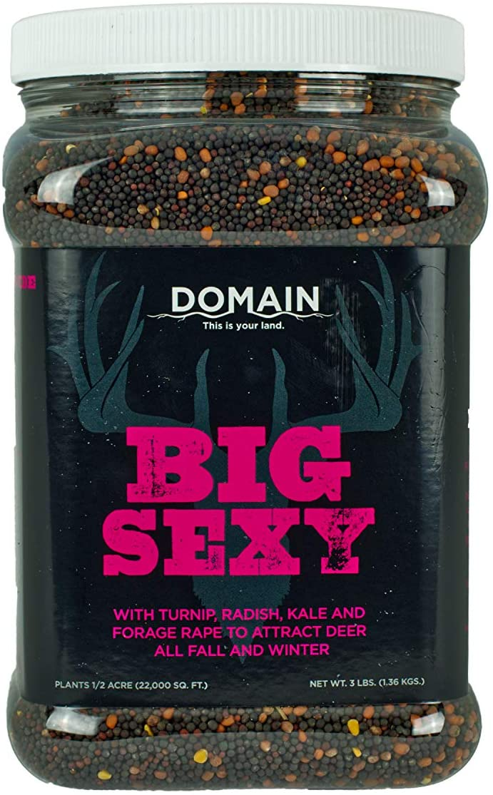 Domain Outdoor Big Sexy Deer Food Plot Seed, 1/2 Acre, High Level of Nutrients & Protein to Support Antler Growth and Health, Cold Tolerant, Fast Germination, Easy to Plant