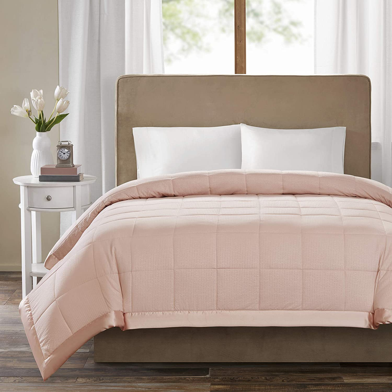 Madison Park Cambria Premium Oversized Hypoallergenic Down Alternative 3M Scotchgard Stain Resistant Quilted Blanket Bedroom Bedding, Twin Size, Blush