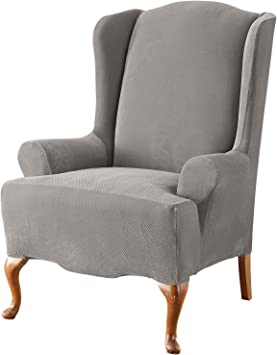 Amazon Com Surefit Home Décor Sf43752 Stretch Pique Box Cushion Recliner Wingback Chair Slipcover Form Fit Polyester Spandex Machine Washable Two Piece Gray Color Furniture Decor