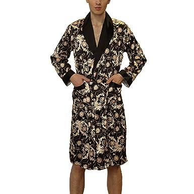 Lu s Chic Men s Satin Kimono Robe Silk Bathrobe Loungewear Spa Long Sleeve  Pockets Sleepwear Black US 395944ab5