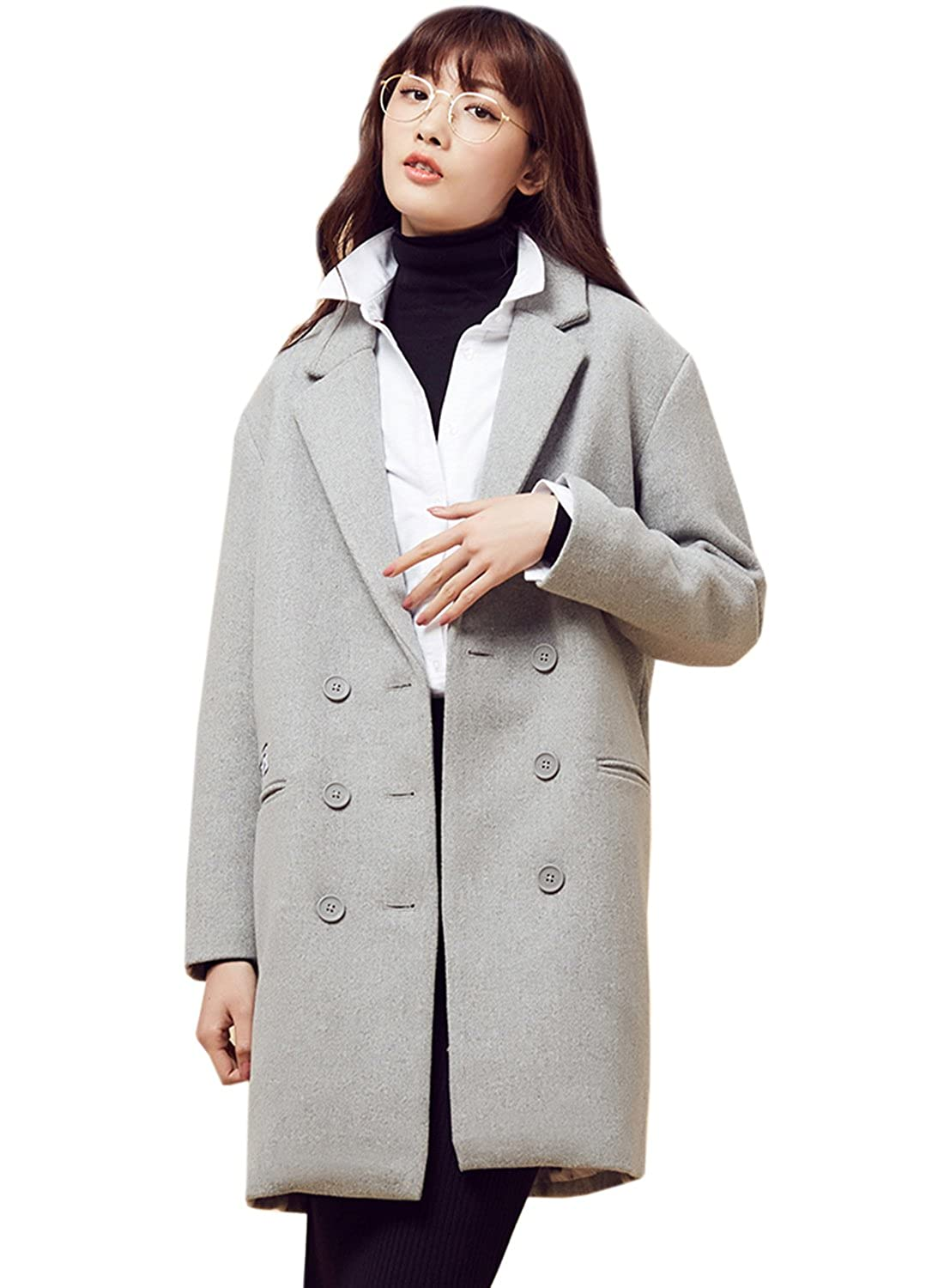 Meters/bonwe Women's Drop Shoulder Notch Lapel Woolen Coat