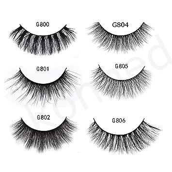 87b11866409 Amazon.com : 5 Pairs 3D Chemical Fiber Mink-like False Eyelashes Wispy Cross  Long Lashes Makeup (G805) : Beauty