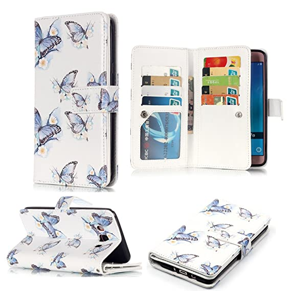 6290bf334411 XYX Galaxy J7 2016 Wallet Phone Case,[9 Card Slots][Wind Wudie][Relief  Holster][Clear ID Window][Money Pocket] PU Leather Flip Cover for Samsung  ...