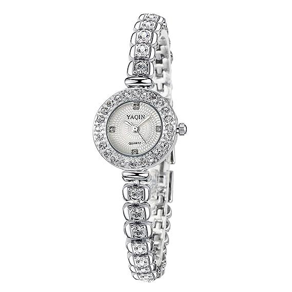 Relojes Pulsera Rhinestone Brillante Esfera Pequeña Pulsera Plateado Fina Cuarzo Relojes Mujer Hermoso