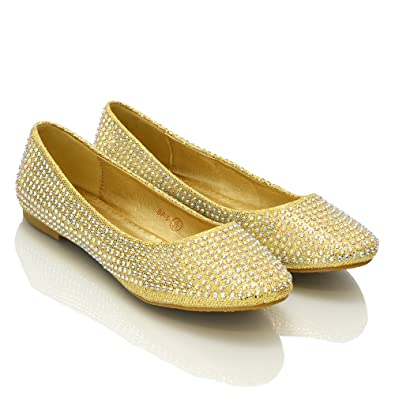 484c1965603b Image Unavailable. Image not available for. Color  ESSEX GLAM Womens Sparkly  Gold Glitter Diamante Ballerina Pumps ...