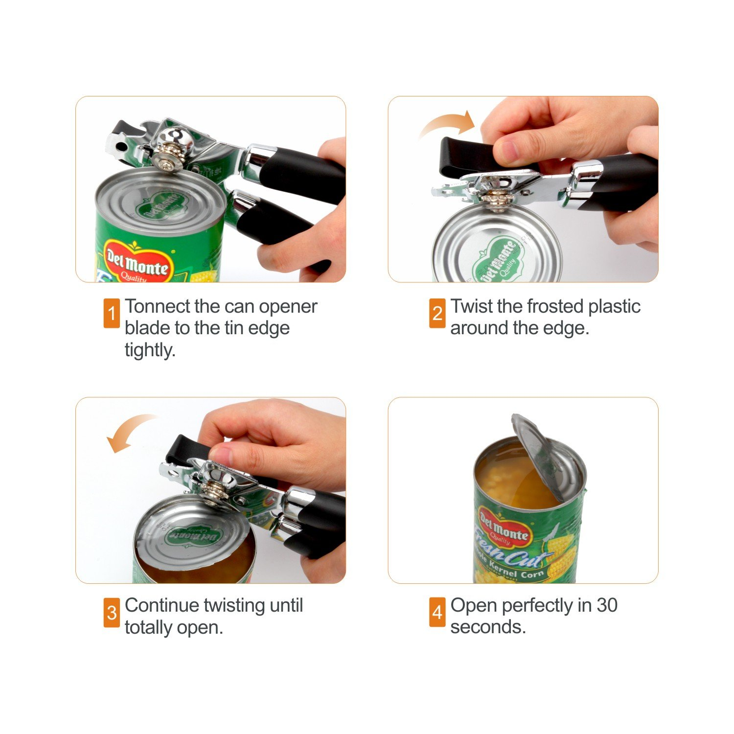 304 Stainless Steel Materials Ergonomic Turning Knob-Suitable For Kitchen and Restaura Built in Bottle Opener Manual Can Opener,Male Cousin Heavy Duty Safety Smooth Edge Can Opener Black