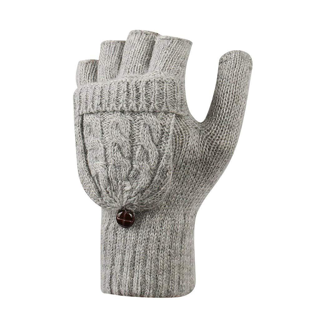 Surgood Guantes sin dedos convertibles de lana de imitación de invierno mujer con tapa abatible y hebilla de un tamaño para palm palm 4.3-7.1 pulgadas