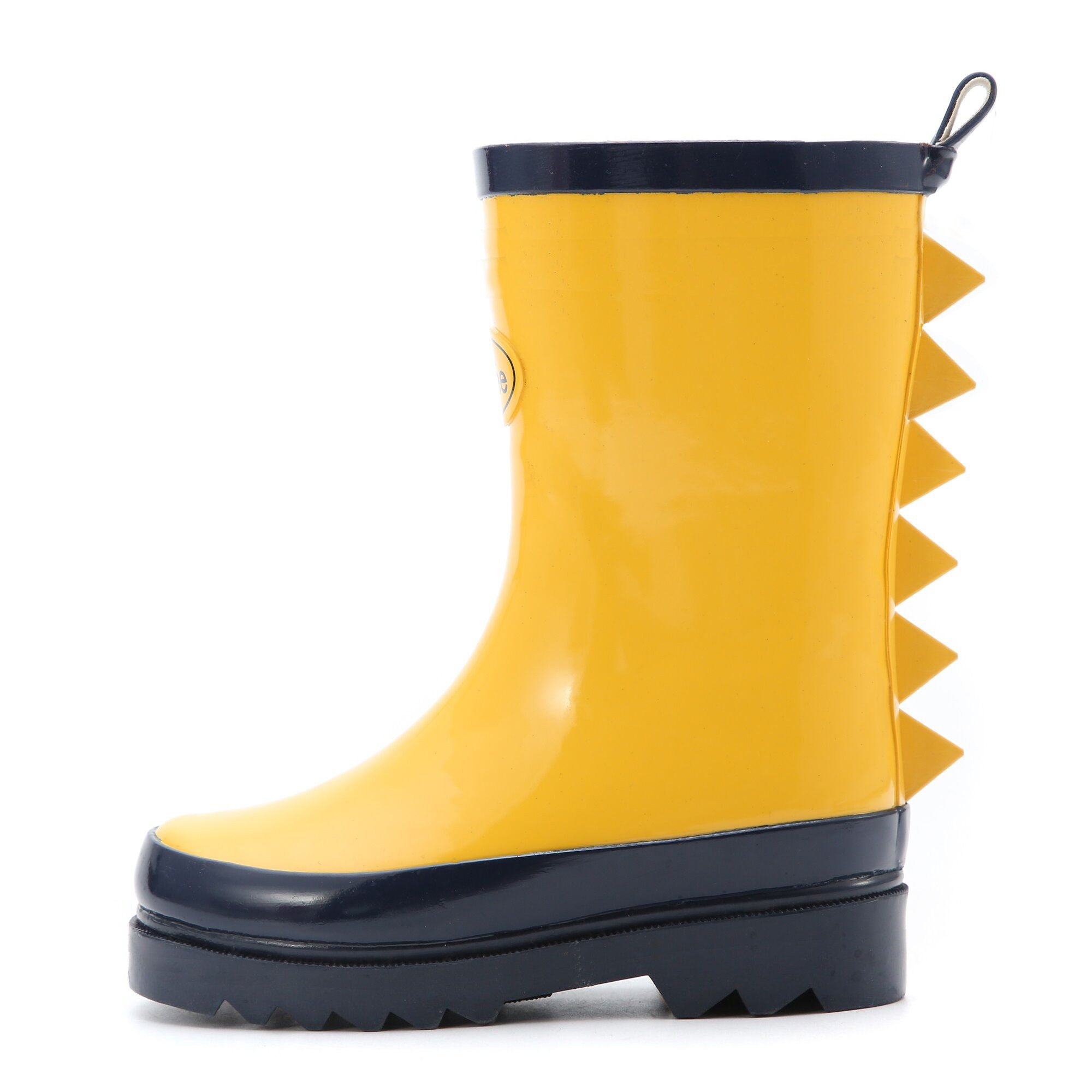Little Kids Boys Rain Boots Yellow Rubber Waterproof in Solid Color for Unisex Shark Fin Removable Insoles Anti-Slippery Durable Sole with Grip (Size 12)