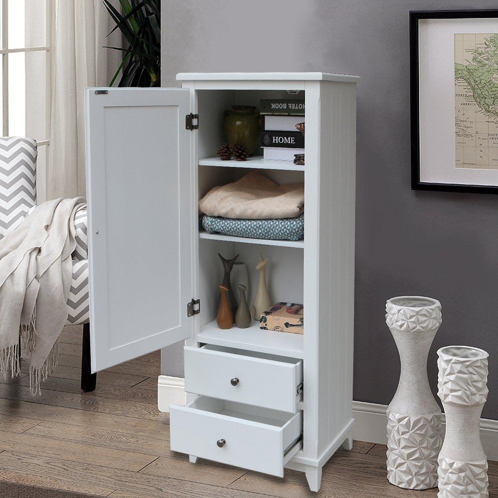 SW Wood Single Wardrobe Cupboard 2 Storage Drawer White