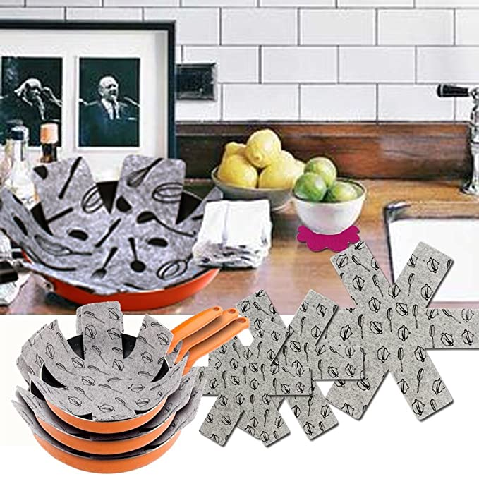 Amazon.com: Pot & Pan Protectors - Gray Print Set of 9, Large/15